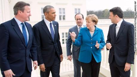 German Chancellor Angela Merkel welcomes Prime Minister of Great Britain David Cameron, US President Barack Obama, France's President Francois Hollande and Prime Minister of Italy Matteo Renzi for talks at Schloss Herrenhausen palace in Hanover, Germany.