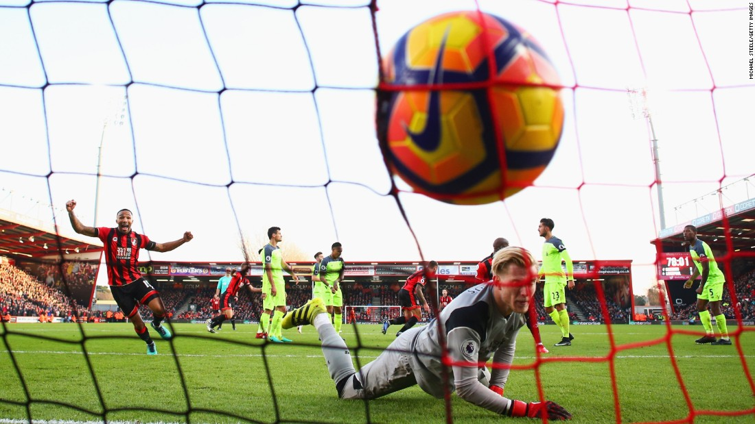 Liverpool goalkeeper Loris Karius looks on after AFC Bournemouth scored their third goal of a Premier League match in Bournemouth, England, on Sunday, December 4. Liverpool lost 3-4.