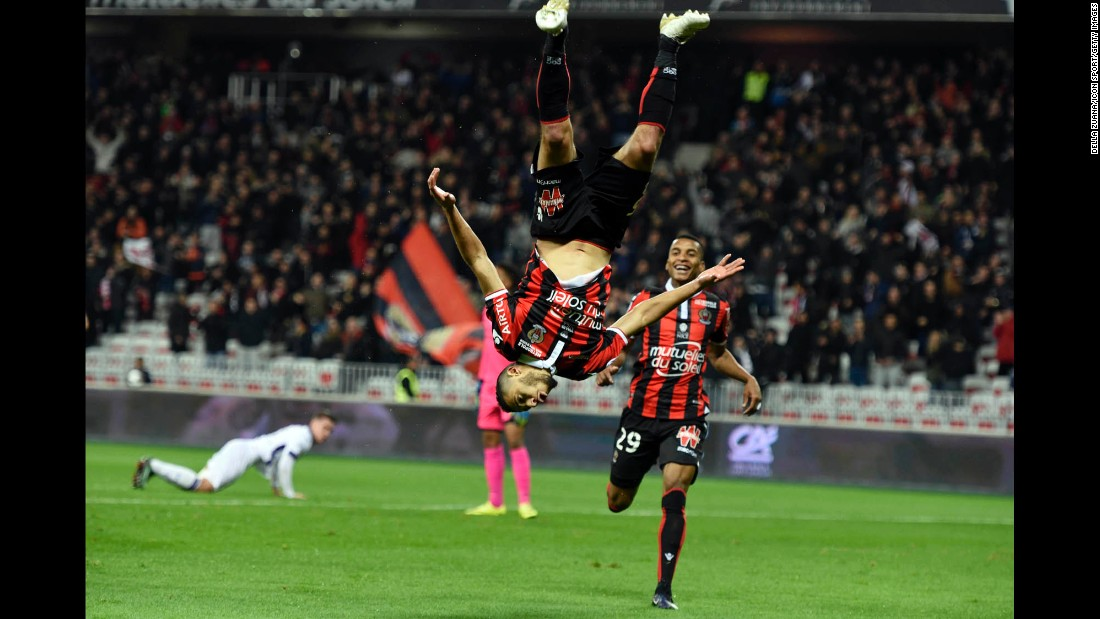 Nice's Younes Belhanda celebrates during a French league match against Toulouse in Nice, France, on Sunday, December 4. Nice won 3-0.