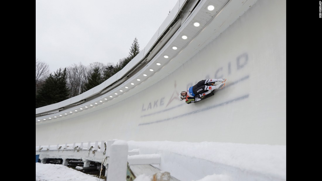 Thomas Steu and Lorenz Koller of Austria compete in the doubles luge World Cup race in Lake Placid, New York, on Friday, December 2.