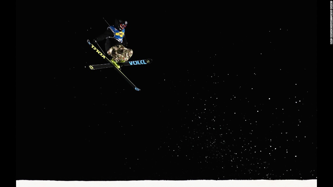 Sebastian Geiger of Germany competes in the ARAG Big Air Freestyle Festival in Mönchengladbach, Germany, on Friday, December 2.