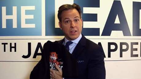 Jake Tapper admits he won't be able to wear the winning T-shirt in front of his children.
