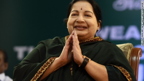 Jayalalithaa Jayaram takes part in a swearing-in ceremony as Chief Minister of Tamil Nadu state in Chennai in May 2016.