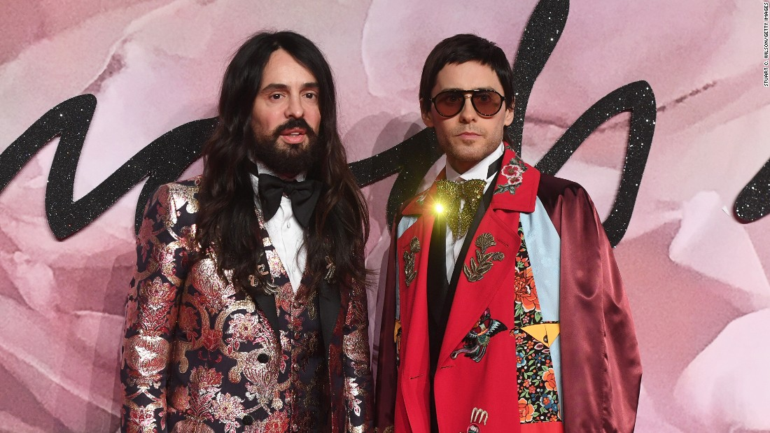 Gucci designer Alessandro Michele, who won the award for International Accessories Designer, with actor Jared Leto.