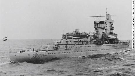 HNLMS De Ruyter was 6,545 ton Dutch naval ship.