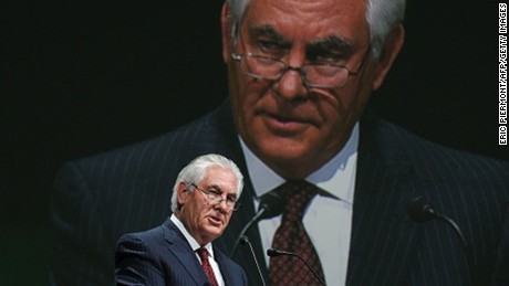Exxon Mobil Chairman and CEO Rex Tillerson addresses a keynote speech during the World Gas Conference in Paris on June 2, 2015.