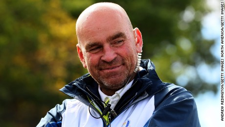 CHASKA, MN - SEPTEMBER 27: Vice-captain Thomas Bjorn looks on during practice prior to the 2016 Ryder Cup at Hazeltine National Golf Club on September 27, 2016 in Chaska, Minnesota.  (Photo by Andrew Redington/Getty Images)