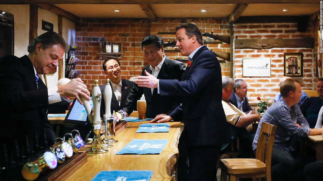 Britain's former prime minister David Cameron took Xi Jinping to The Plough for a real English experience -- a pint of beer and some fish and chips -- during Xi's visit in 2015. Now the pub has been bought by Chinese investors.
