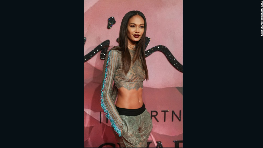 Model Joan Smalls walks the red carpet.