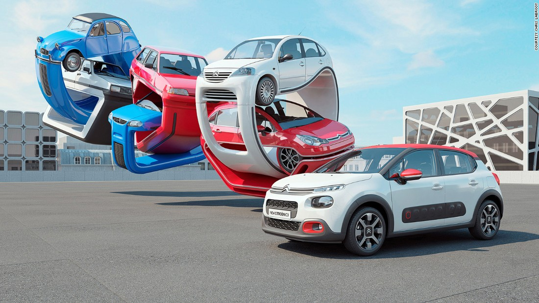 """I was asked by Citroen to create a 3D sculpture that explored the genealogy of the new Citroen C3 car. Cars featured include the 2CV, Visa, AX, Saxo, C3 gen 1, C3 gen 2 and the new Citroen C3,"" Labrooy writes on his website."