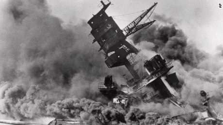 FILE - In this Dec. 7, 1941 file photo, smoke rises from the battleship USS Arizona as it sinks during a Japanese surprise attack on Pearl Harbor, Hawaii. Saturday marks the 72nd anniversary of the attack that brought the United States into World War II. (AP File Photo)