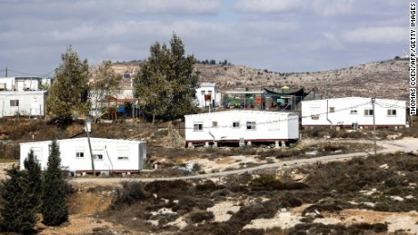 A picture taken on November 17, 2016 shows a general view of some caravans in the settlement outpost of Amona, which was established in 1997, in the Israeli-occupied West Bank.