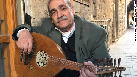 Maamoun Hussein Al Masri, photographed by Humans of Damascus, owns a small shop near the famous Al Nofara Cafe and sells wooden ouds.