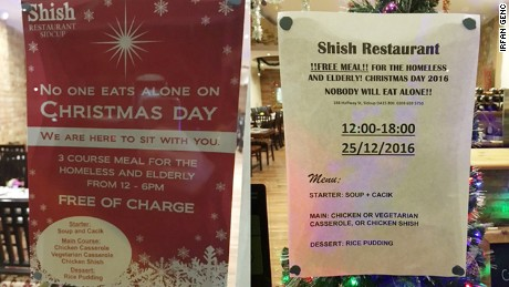 The UK Turkish restaurant will provide a free meal for the elderly and the homeless on Christmas Day.
