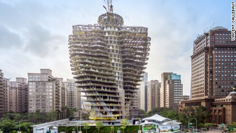 This twisted carbon-eating tower is rising in the East