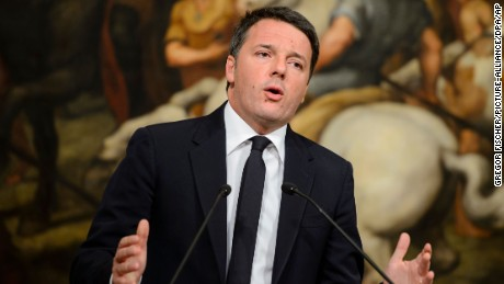 Italian Prime Minister Matteo Renzi speaking after the referendum in Rome on Sunday.