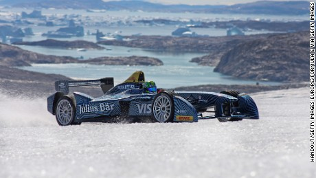 NUUK, GREENLAND - SEPTEMBER 14:  In this handout image supplied by Formula E, Lucas di Grassi spins the wheels as he drives the Spark-Renault SRT_01E all electric car on the ice cap on September 14, 2016 near Nuuk, Greenland. (Photo by Will Gray/Formula E via Getty Images)