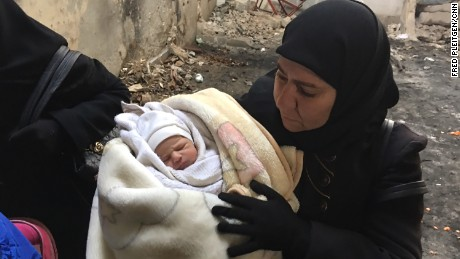 A girl named Ghazal, only 7 days old, was born at the height of the fighting in eastern Aleppo.