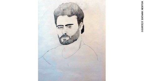 A portrait of Syrian journalist Khaled al-Issa by Marc Nelson's eighth grade student Eathan Newton.