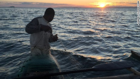 Hary wakes well before dawn to cast fishing nets into the Mozambique Channel.
