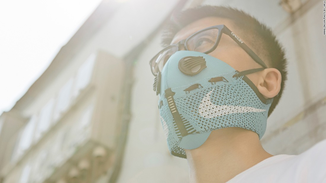 Beijing-based designer Wang Zhijun has been creating stylish pollution masks out of dismembered sneakers since 2014.
