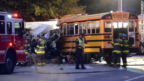 The collision sheared off the driver's side of the commuter bus.