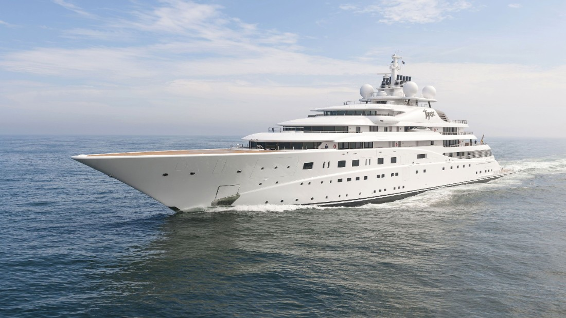 Launched in 2012, the 147-meter (482-foot) Topaz is one of several vessels on the list built by German firm Lurssen.