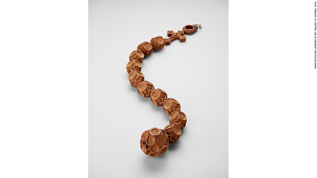 The Chatsworth Rosary, made between 1509 and 1526, was originally owned by Henry VIII and his first wife, Catherine of Aragon. The exhibition is the first time it's being displayed in North America.