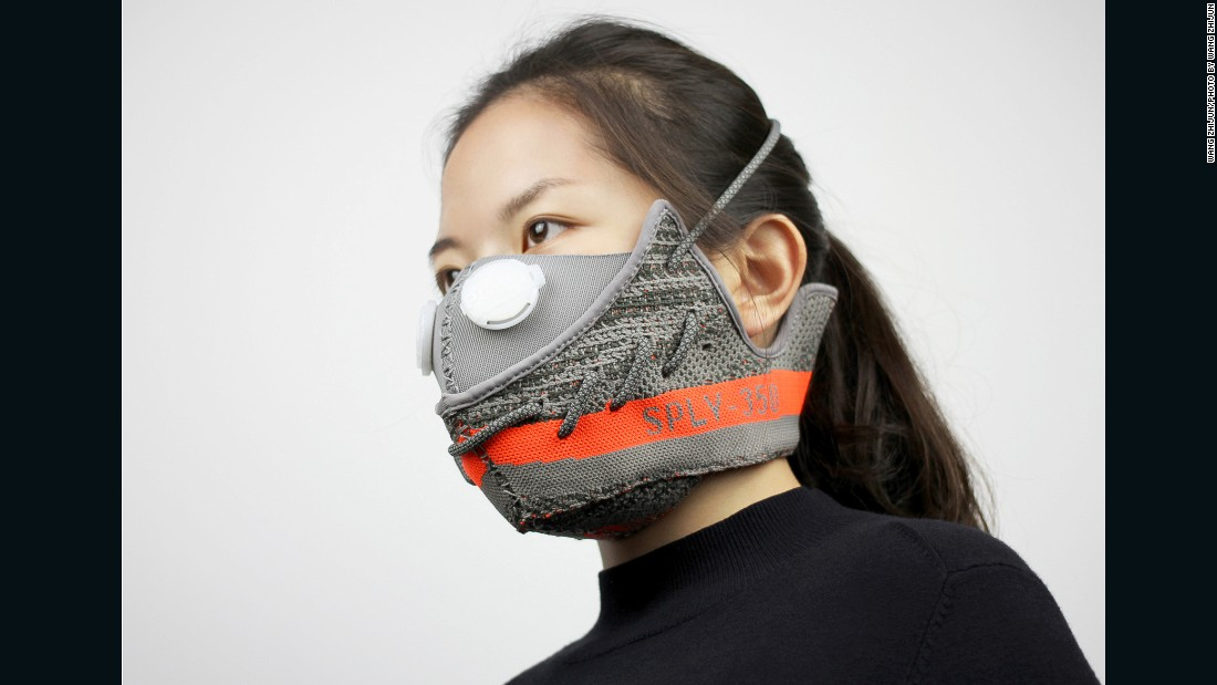 Beijing designer Wang Zhijun makes pollution masks out of dismembered sneakers, like this one. It's made from a pair of limited edition Adidas Yeezy Boost 350 V2s, designed by Kanye West. A $5,000 bid for the mask on eBay China attracted global attention to Wang's project.