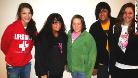 Jinkinson, second from right, with some of her friends in high school.