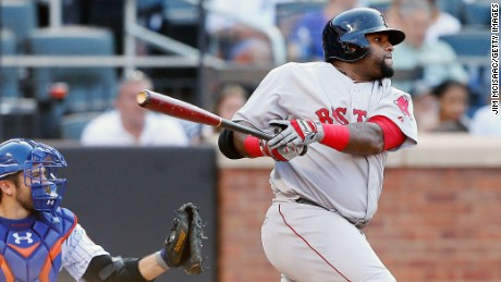 NEW YORK, NY - AUGUST 29:  Pablo Sandoval #48 of the Boston Red Sox follows through on a sixth inning RBI double against the New York Mets at Citi Field on August 29, 2015 in the Flushing neighborhood of the Queens borough of New York City.  (Photo by Jim McIsaac/Getty Images)