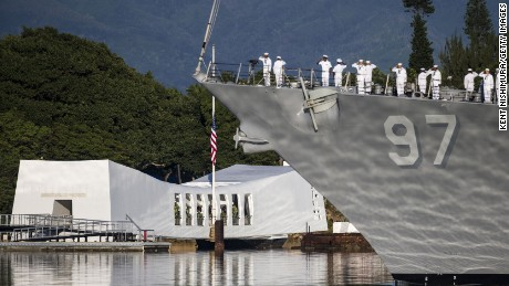 HONOLULU, HI - DECEMBER 07: The USS Halsey performs a Pass-in-Review during a ceremony commemorating the 75th anniversary of the attack on Pearl Harbor at Kilo Pier on December 07, 2016 in Honolulu, Hawaii.  (Photo by Kent Nishimura/Getty Images)