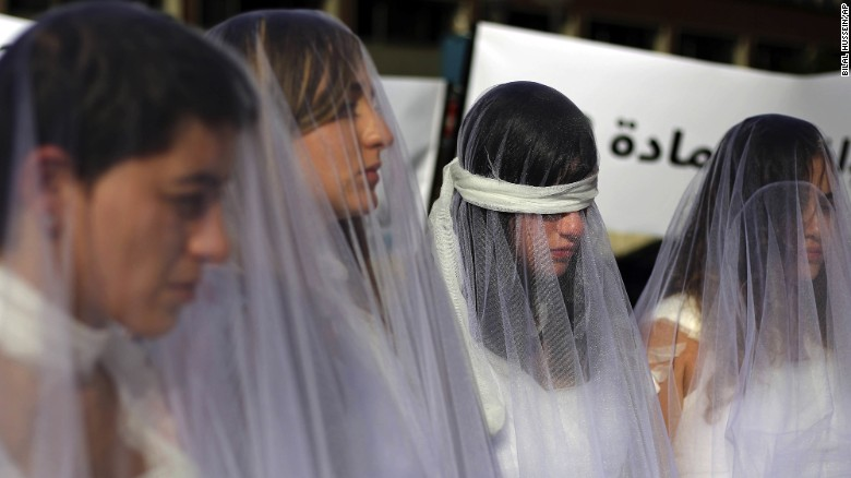 Bloodied brides protest ancient rape law