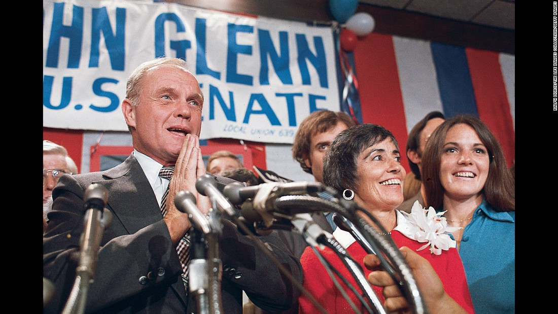 Glenn and his family celebrate his November 1974 election win as US senator from Ohio. He began a 24-year career on Capitol Hill and was widely regarded as an effective legislator and moderate Democrat. He unsuccessfully sought the Democratic presidential nomination in 1984.