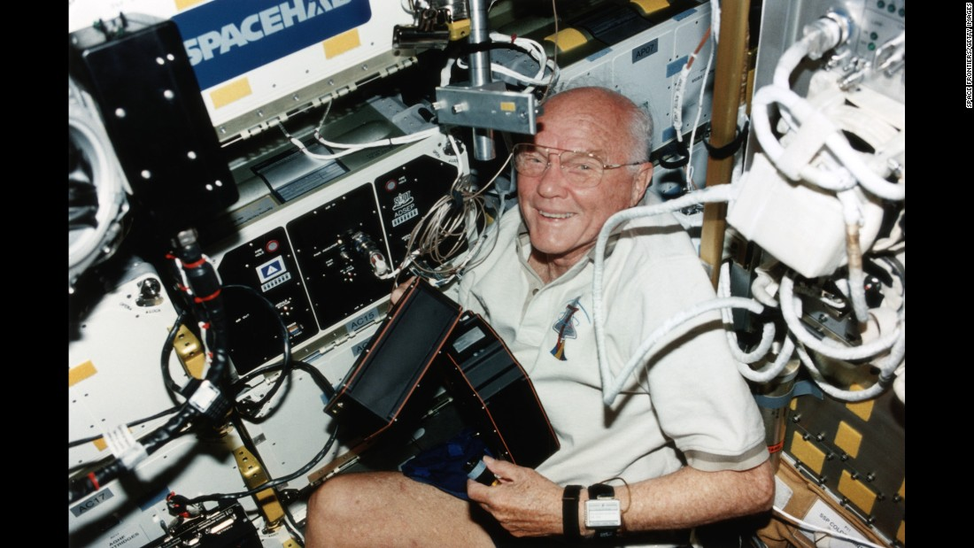 "Glenn is seen aboard the shuttle Discovery in 1998. <a href=""https://www.nasa.gov/centers/glenn/about/bios/shuttle_mission.html"" target=""_blank"">He was a STS-95 payload specialist</a> on the nine-day mission."