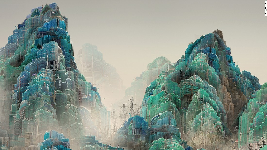 Chinese artist Yang Yongliang creates incredible detailed artwork that combines traditional Chinese landscapes with images of city and urban living.