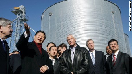 Chinese President Xi Jinping visits an Iowa farm in 2012.