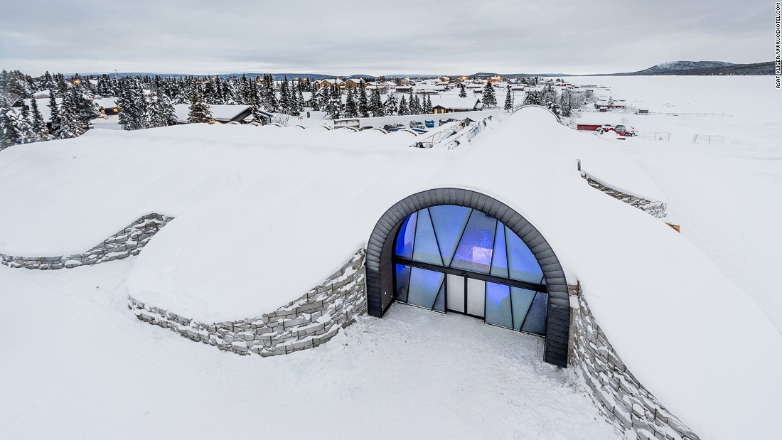 The entrance to the Ice Art Hall. ICEHOTEL 365 is built on the site of a former refrigeration plant.