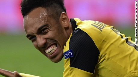 Dortmund's Gabonese striker Pierre-Emerick Aubameyang gestures after missing a goal during the UEFA Champions League football match Real Madrid CF vs Borussia Dortmund at the Santiago Bernabeu stadium in Madrid on December 7, 2016. / AFP / JAVIER SORIANO        (Photo credit should read JAVIER SORIANO/AFP/Getty Images)