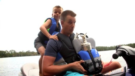 Henrik Stenson goes jet-skiing with the Claret Jug