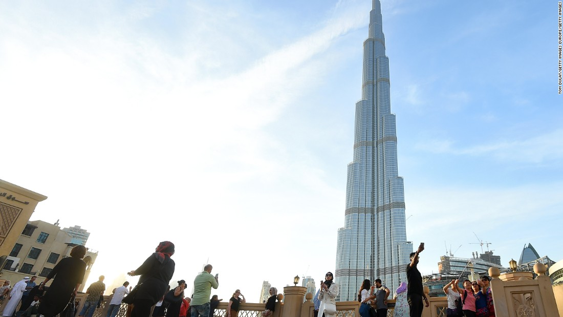 A view of the buzzing streets around Burj Khalifa in Dubai, United Arab Emirates.