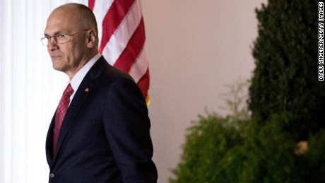 BEDMINSTER TOWNSHIP, NJ - NOVEMBER 19: (L to R) Andrew Puzder, chief executive of CKE Restaurants, exits after his meeting with president-elect Donald Trump at Trump International Golf Club, November 19, 2016 in Bedminster Township, New Jersey. Trump and his transition team are in the process of filling cabinet and other high level positions for the new administration. (Photo by Drew Angerer/Getty Images)