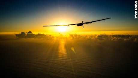 Hawaii, USA, Feb 26th 2016: Solar Impulse 2 undertakes a maintenance flight performed by the test pilot Markus Scherdel in Hawaii before the resuming of the First Round-the-World Solar flights late April 2016. The Round-the-World Flight will take 500 flight hours and cover 35000 km. Swiss founders and pilots, Bertrand Piccard and André Borschberg hope to demonstrate how pioneering spirit, innovation and clean technologies can change the world. The duo will take turns flying Solar Impulse 2, changing at each stop and will fly over the Arabian Sea, to India, to Myanmar, to China, across the Pacific Ocean, to the United States, over the Atlantic Ocean to Southern Europe or Northern Africa before finishing the journey by returning to the initial departure point. Landings will be made every few days to switch pilots and organize public events for governments, schools and universities.