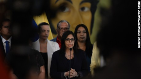 "Venezuelan Foreign Minister Delcy Rodriguez offers a press conference after holding a meeting with members of ""Commission for Truth and Justice,""  in Caracas on December 2, 2016. Venezuela on Friday angrily rejected its suspension from the South American economic bloc Mercosur, saying it did not recognize the action taken by the group's four other member states. / AFP / Federico PARRA        (Photo credit should read FEDERICO PARRA/AFP/Getty Images)"