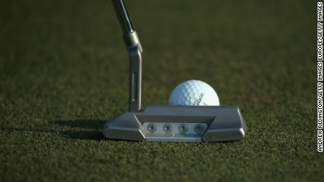 ABU DHABI, UNITED ARAB EMIRATES - JANUARY 15:  A close-up of the putter of  Paul Lawrie of Scotland during the Pro Am event prior to the start of the Abu Dhabi HSBC Golf Championship at the Abu Dhabi Golf Cub on January 15, 2014 in Abu Dhabi, United Arab Emirates.  (Photo by Andrew Redington/Getty Images)