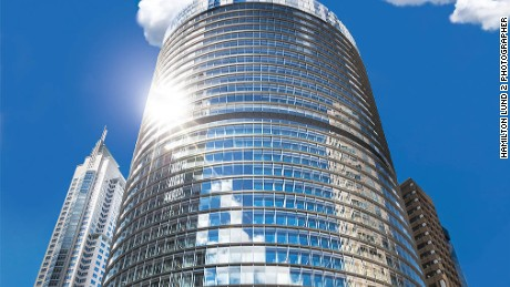 The high-rise office building is the first in Australia to use a double-skinned glass facade, which uses computer-controlled shades to shield the sun and distribute natural light.