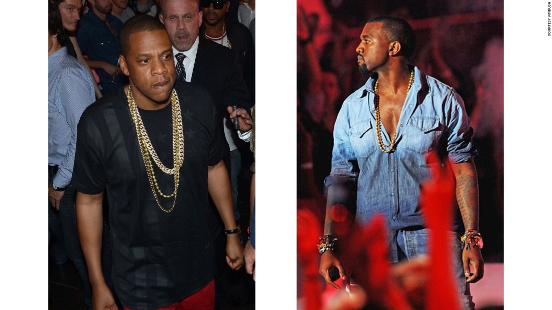 The duo has been trying to make a connection between high fashion and hip-hop since forming AMBUSH. Here, hip-hop icons Jay Z and Kanye West are pictured wearing AMBUSH.