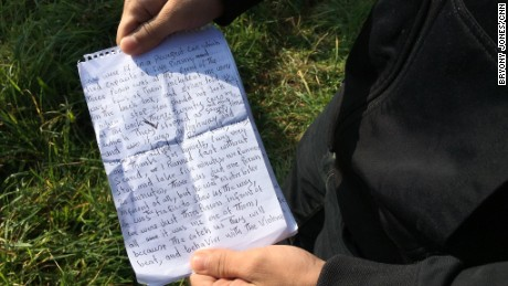 Muhamed wrote notes detailing the ordeals he went through on his journey from Afghanistan to Calais.