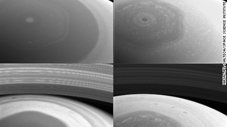 NASA's Cassini spacecraft took these images of the planet's mysterious hexagon-shaped jetstream in early December 2016. The hexagon was discovered in images taken by the Voyager spacecraft in the early 1980s. It's estimated to have a diameter wider than two Earths. Scientists are still trying to figure out what causes it. Cassini was launched in 1997 and is beginning the end of its mission. The probe will dive into Saturn's atmosphere on September 15, 2017, sending back data until its signal is lost.