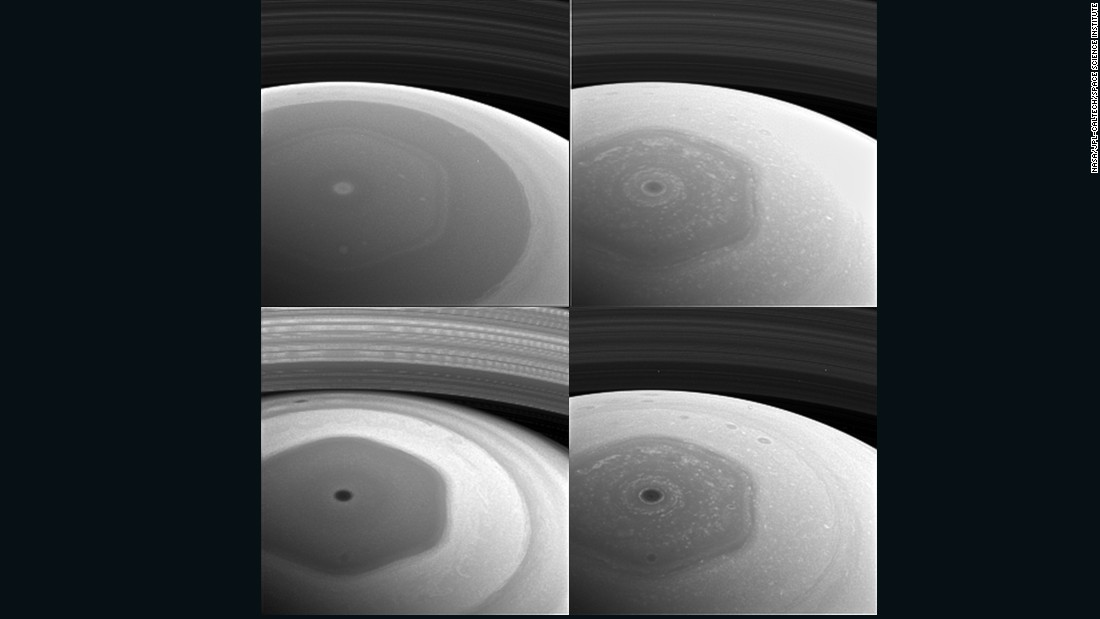 NASA's Cassini spacecraft took these images of the planet's mysterious hexagon-shaped jetstream in December 2016. The hexagon was discovered in images taken by the Voyager spacecraft in the early 1980s. It's estimated to have a diameter wider than two Earths.